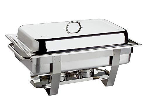 """APS Chafing Dish """"Chef"""" – mit einem Speisenbehälter aus Edelstahl 65 mm tief, Zwei Brennpastenbehälter, einem Wasserbecken, Deckel, Gestell und Langen Hohlgriffen"""