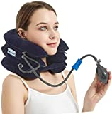 Cervical Neck Traction Device & Collar Pillow-Dr.Comfy, Adustable Inflatable and Soft Neck Brace and Strether for Neck Pain Relief, Stress Relief,Chronic Neck Pain -Blue