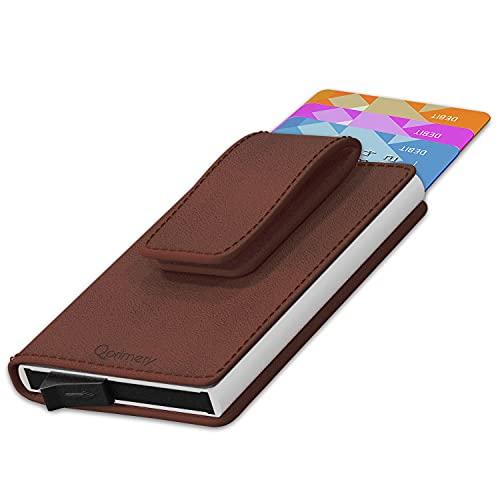 Tarjetero Hombre Mujer para Tarjetas Piel Natural legitima RFID Bloqueo Protector de Tarjetas Anti fraude Anti contactless Gran Capacidad Marron