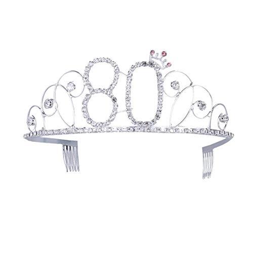 Ouinne Tiara Cristal Cumpleaños Corona Princesa Feliz Cumpleaños de Número 80 Accesorios con Peine