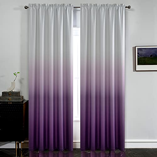 Yakamok Room Darkening Gradient Curtain Panels Ombre Purple Curtains Thermal Insulated Rod Pocket Window Drapes for Living Room/Bedroom (Purple and Greyish White, 2 Panels,52x84 Inch)