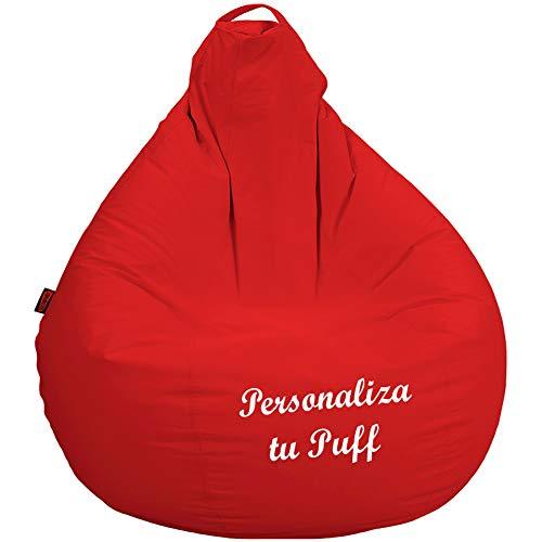 loconfort Puff Pera Personalizado con TU Nombre, Poli Piel Beig (XL Adulto, Rojo)