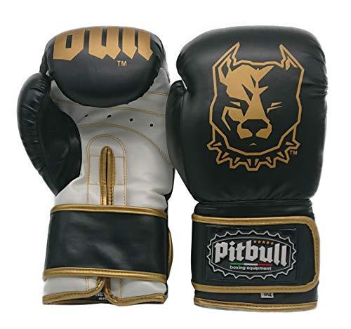 Pitbull Boxing Equipment Guanti Boxe GL 37W | 10 Once | 10 OZ |Bianco-Nero | Guanti Kick Boxing 10 Once | Guanti Muay Thai 10 Once | Guantoni Boxe