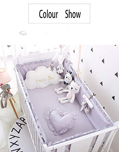 Review JINGGEGE Gray Cotton Crib Bumper Crib Anti-Smashing Newborn Liner Game Safety Pad Baby Crash ...