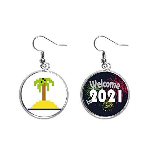 Verano Vela Árbol de Coco Pixel Oído Colgantes Pendientes Joyería 2021 Bendición