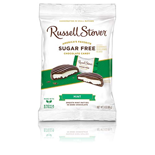 Russell Stover Mint Patties No Sugar Added Dark Chocolate, Bag, 85g