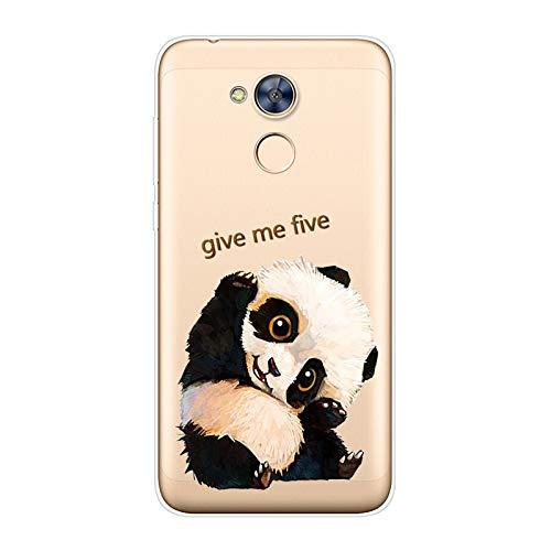 Aksuo for Huawei Honor 6A Hülle Silikon, TPU Silikonhülle Handyhülle Kratzfest Durchsichtige Stylisch Muster Design Robust Leicht Passgenau Case - Give me Five Panda