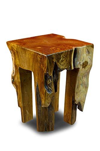 Kinaree Holz Beistelltisch BAN CHOM - 42cm Teakholz Hocker aus massivem Teak Wurzelholz als Podest, Blumenständer, Nachttisch oder Blumenhocker