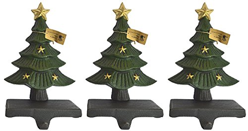 Lulu Decor, Cast Iron Decorative Christmas Tree Stocking Holder, Solid, Beautiful, Set of 3, Perfect for, Stocking Hanger (3 Trees with Stars)