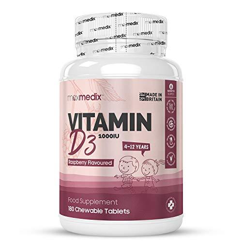 Vitamina D Niños 1000 UI - Comprimidos Masticables para Niños, 180 Comprimidos Sin Azúcar Suministro para 1 Año, Contribuye al Funcionamiento Normal del Sistema Inmune y a la Absorción de Calcio
