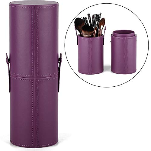 Makeup Brush Holder Travel Brushes Case Bag Cup Storage Dustproof for Women and Girls (Purple)