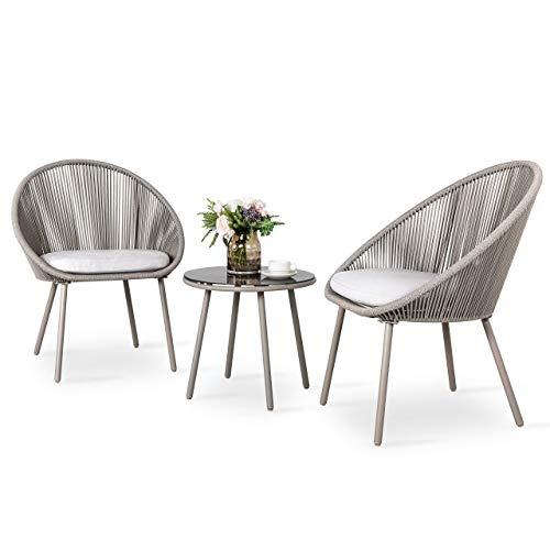 Nuu Garden 3 Piece Patio Table Set Outdoor Furniture Bistro Set with Cushions for Garden, Balcony, Deck, Backyard