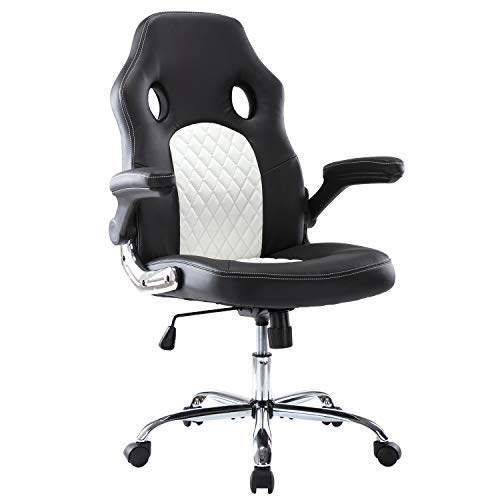 Office Chair, Gaming Chair Bonded Leather, Ergonomic Computer Desk Chair Task Swivel Executive Chairs High Back with Flip-up Armrests and Rolling Casters (Black/White)