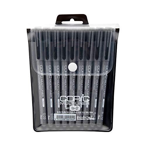 COPIC Markers MLB2 9-teiliges Tintenschreiber-Set, Schwarz