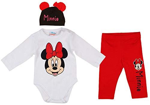 Disney Baby Mädchen Set Outfit 3-teiler mit Minnie Mouse in Gr. 56 62 68 74 80 86 Baumwolle süß für 6-12 12-18 18-24 Monate 1 Jahr Body Mütze Hose Farbe Modell 7, Größe 62