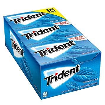Trident Imported Sugar Free Gum , Original Flavour , 14 Count ( Pack of 12 )