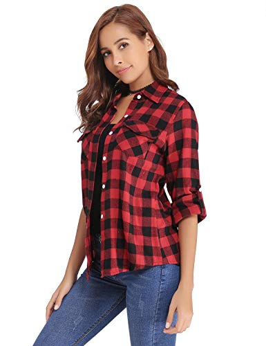 Aibrou Women's Blouses Tops Roll up Long Sleeve Plaid Button Down Casual Boyfriend Shirt Red
