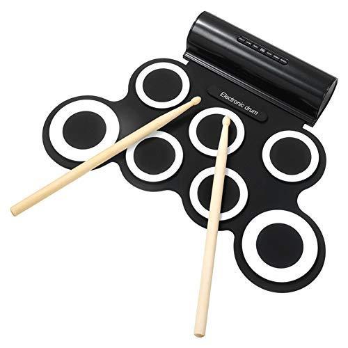 IWORD Electronic Drum Set, Adult Beginner Pro Midi Drum Pad Practice, Roll Up Drum Kit with Headphone Jack Built-in Speaker, Great Holiday Birthday Christmas Gift for Kids Drum Set(BLACK)