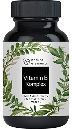 Vitamin B Komplex mit B12-180 Tabletten - Premium: Mit Aktivformen, Quatrefolic®, Kofaktoren - Laborgeprüft, vegan