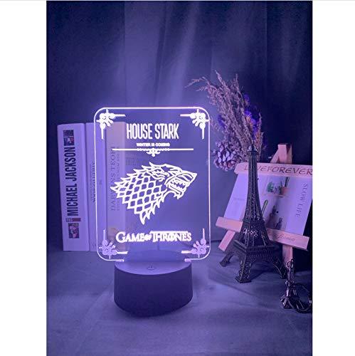 Juego de tronos House of Stark Logo Luz nocturna con sensor táctil LED Luz nocturna que cambia de color para la decoración de la habitación de la oficina Mesa Lámpara 3d 7 colores sin control remoto
