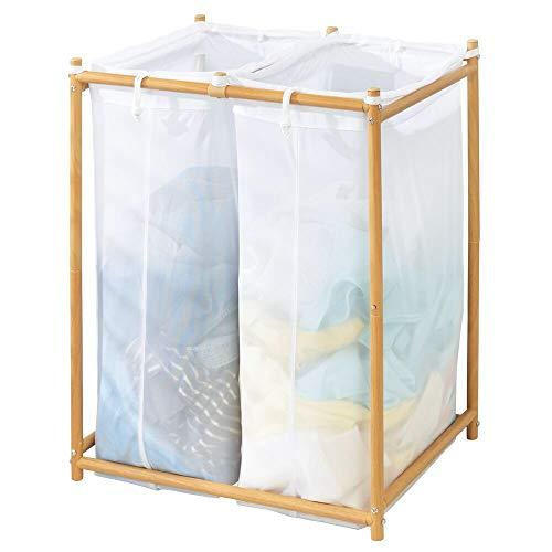 mDesign Cesto para ropa sucia para lavadero – Con 2 bolsas para la colada de tejido de malla transpirable – Mueble de baño de madera de bambú para guardar ropa sucia y ahorrar espacio – blanco/natural