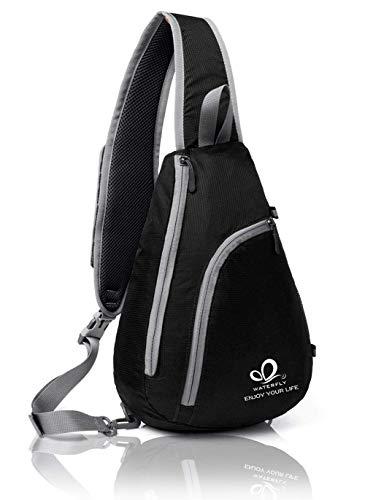 WATERFLY Sling Bag Damen und Herren, Schulterrucksack Crossbody Triangle Pack Rucksack für Reisen, Sport, Wandern, Freizeit