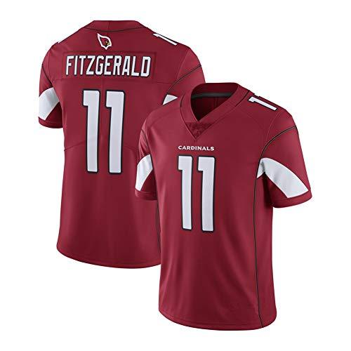 DADD Herren Rugby Jersey T-Shirt Arizona Cardinals 11# Fitzgerald Kurzarm Bequem Atmungsaktiv Sweatshirt Sport Kurzarm V-Ausschnitt Gr. XXL, rot