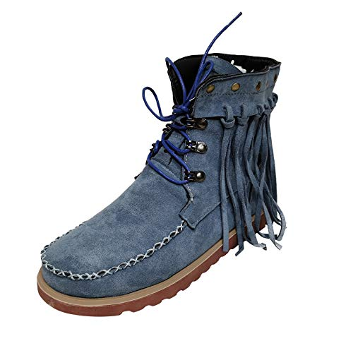 Women Tassel Ankle Boots,Womens Winter Vintage Fringe Mid-Calf Western Booties Pull-on Flat Lcae Up Stitched Boot Blue