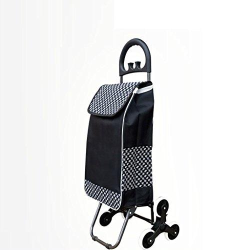 RSWLY Carrito de Compras portátil Ligero Escaleras de Escalada Plegable Coche Push-Pull (Color : Black)
