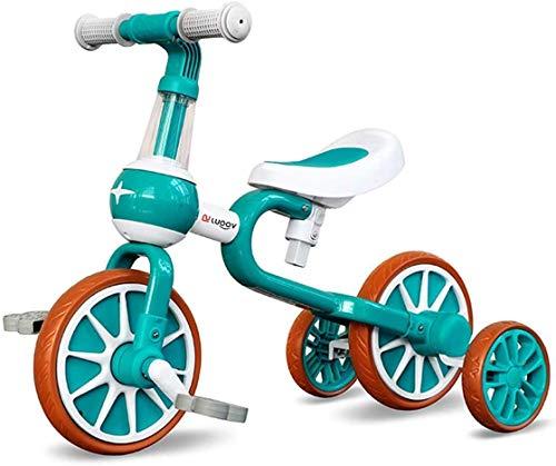 Zooma 4 in 1 Kinder Laufrad, Dreirad Fahrrad mit abnehmbarem Pedal und Stützrädern für 1-4 Jahre alte Jungen Mädchen (Grün)
