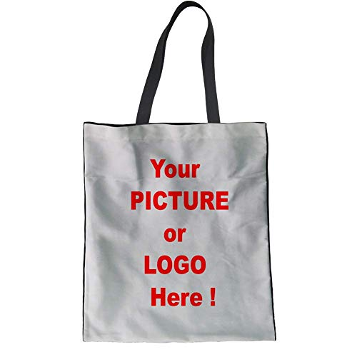 SANNOVO Cute Handle Bags Custom Print Reusable Cotton Bag for Beach Travel