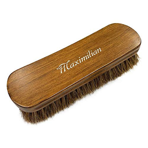"MAXIMILIAN 8"" Shoe Shine Brush, 100% Soft Horsehair & Beech Wood Shoe Polish Large Shoe Cleaning - for Shoes, Boots & Other Leather Care"