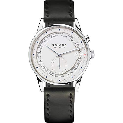 Nomos Glashuette Men's Zurich world time 39.9mm Black Leather Band Steel...