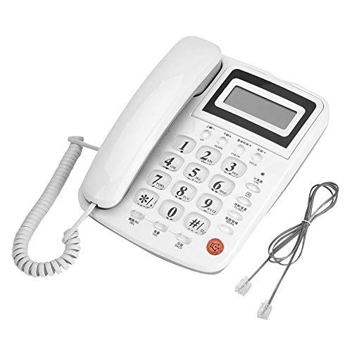Dpofirs Teléfono Fijo Blanco de Sobremesa para Oficinas, Teléfono Analógico para Casa, Volumen Ajustable, 16 Secciones de Tono de Llmadas, Funcón de Llmadas con Manos Libres, Teléfonos con Cable