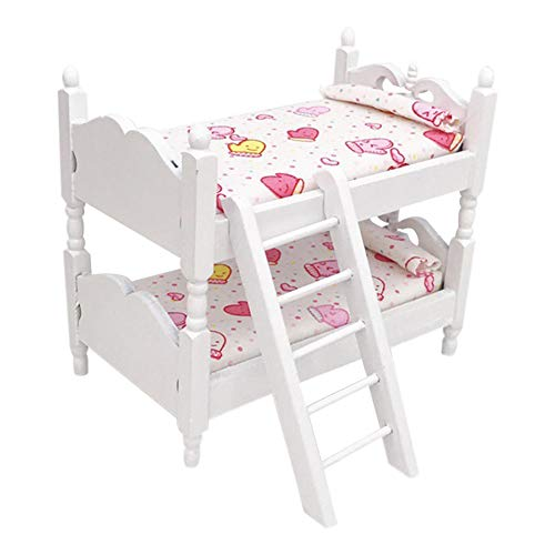 dukesong DIY Dollhouse Miniatures, 1/12 Mini Doll House Bunk Bed Living Room Furniture Decor Kids Pretend Play Toy
