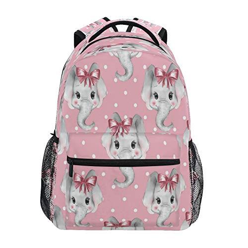 JUMBEAR Mochila de lona para niños, diseño de elefante, color rosa, ideal para viajes y estudiantes de la escuela media, ligera, impermeable, para el hombro, para mujeres y hombres