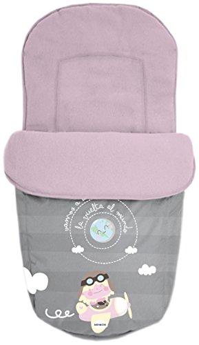 Baby Star 25494 - Saco para silla universal, color rosa y gris