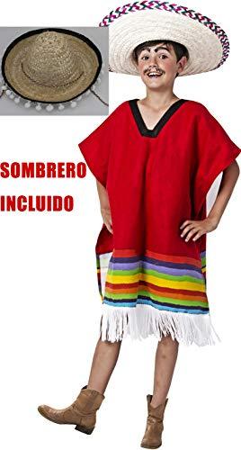 Gojoy shop- Disfraz y Sombrero de Mejicano para Niño Carnaval (Contiene Sombrero y Poncho, 4 Tallas Diferentes) (3-4 años)
