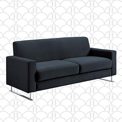 """Elle Decor Baylie Mid-Century Modern Sofa with Chrome Sleigh Legs, Accent Living Room Couch with Plush Upholstery, Easy to Assemble, 80"""", French Cobalt Velvet"""