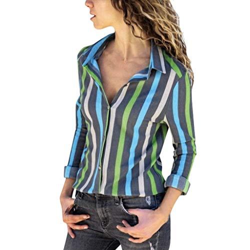 TEFIIR Damen Gestreiftes Hemd Pendler Slim Fit Geschmack Langarm Mode Oberteile Lässig Bluse Lose Tops Geeignet für Freizeit, Urlaub und Dating