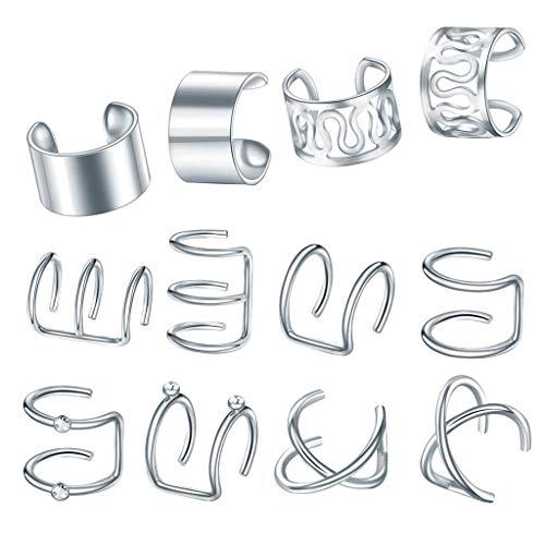 Harilla 12pcs Ear Cuff Estilo Mixto Non-Piercing Jewelry Clip De Oreja En Envoltura - De Plata, como se Describe