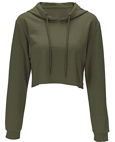 Crop Top Hoodie for Women Long Sleeve Crop Top Sweatshirt Pullover Hooded Sweatshirt(S, Army Green)