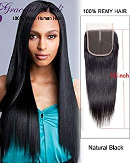Graceful Lodi Brazilian Virgin Straight Human Hair Lace closure 100% Unprocessed Human Hair Top Lace Closure 4x4 Middle Part Lace Closure Natural Color (6 Inch Middle Part)