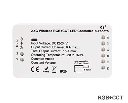 ZigBee Tira de LED Controlador de interruptor de luz, RGB+CCT Control Remoto de ZigBee Light Link Adaptador para 12-24V LED Light Strip, Philips Hue Bridge, Amazon Echo Plus, Lightify