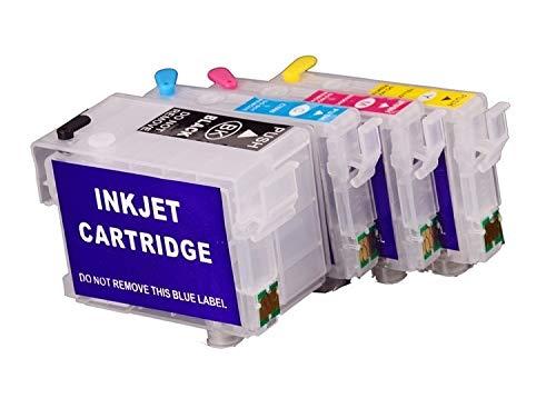Navulbare Quickfill - Fill-In inktpatronen met Auto Reset Chips zoals T34 XL zwart, cyaan, magenta, geel voor WorkForce Pro WF-3720 DW, WF-3720 DWF, WF-3725 DWF