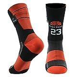 RANDY SUN Basketball 23 Socks, Mens Womens Waterproof Running Cushion Quick Dry Mid Calf Sneaker Walking Travel Socks, 1 Pair-Red Large