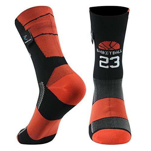 RANDY SUN Basketball 23 Socken, für Herren und Damen, wasserdicht, Laufkissen, schnelltrocknend, halbwadenfest, 1 Paar, Rot