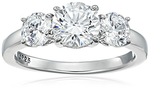 Platinum-Plated Sterling Silver Round 3-Stone Ring made with Swarovski Zirconia (3 cttw), Size 5