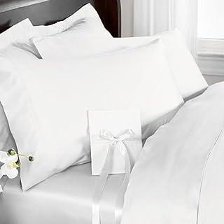 R.T. Home - エジプト高級超長綿 800スレッドカウント ホテル品質 クイーン ボックス シーツ/掛け布団カバー/枕カバー2枚 計四点セット サテン織り ホワイト(白) (ボック スシーツ:160*200*36CM、布団カバー210*...