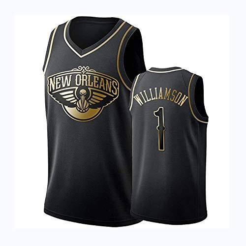 Jersey de Baloncesto de la Leyenda de los Hombres - Zion Williamson # 1 New Orleans Pelicans Black Gold Edition Uniforme de Baloncesto, Bordado Baloncesto Swingman Jersey Sport Chaleco de Manga